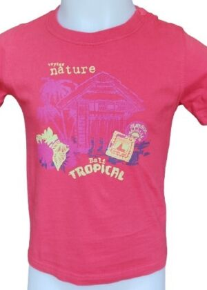 T-shirt rouge imprimé tropical