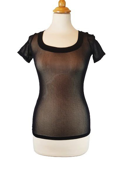 T-shirt en voile noir transparent